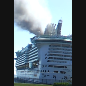 Freedom of Seas Cruise Ship on fire near Falmouth, Jamaica